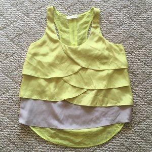 5/$15 Lush Neon Yellow Petals Tank Small